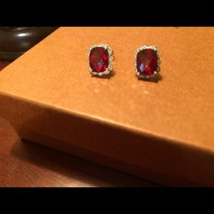 Real Garnet Stone and Diamond Earrings 14kt W Gold